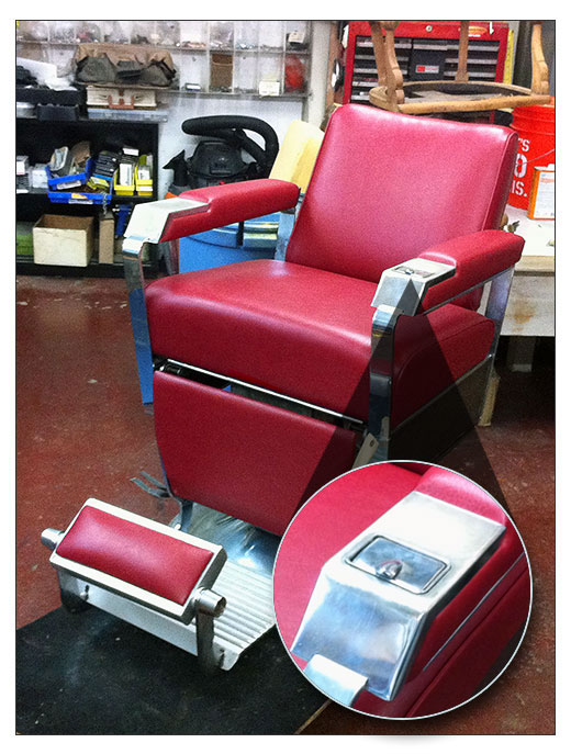 old barber chair reupholstered