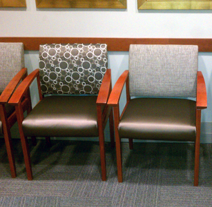 two upholstered waiting room chairs