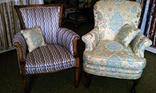 reupholstered arm chairs