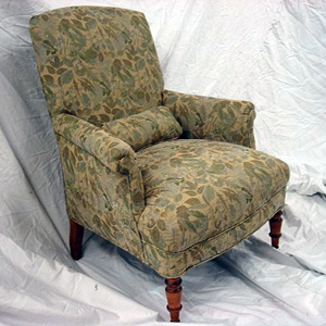 1930s arm chair upholstered in floral tapestry