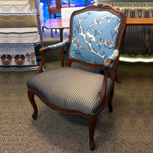 french chair with two fabrics