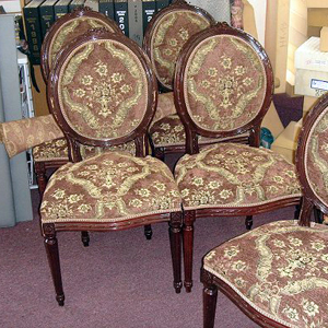 formal dining chairs upholstered in chenille