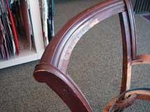 red wood finish chair back
