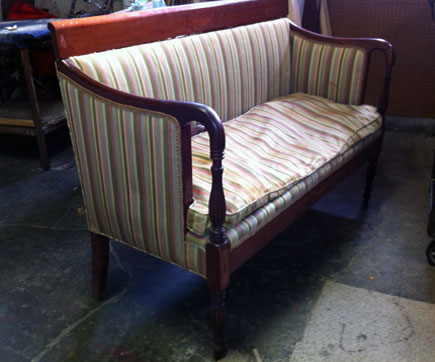 settee before new upholstery
