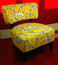 reupholstered yellow chair